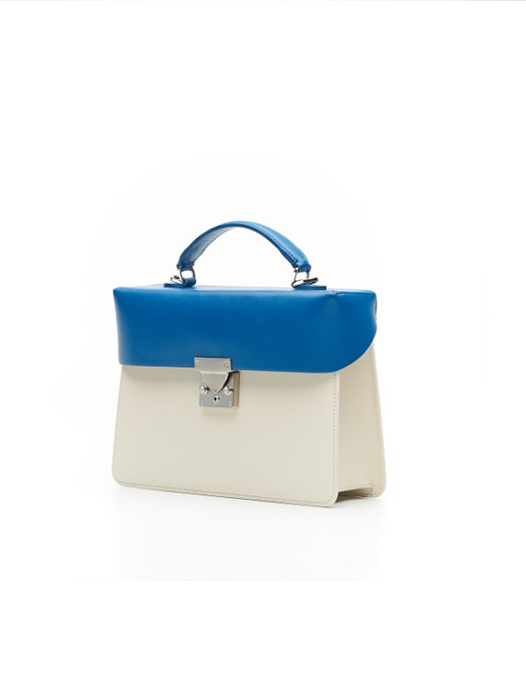 Box Bag- Ivory / Deep Blue