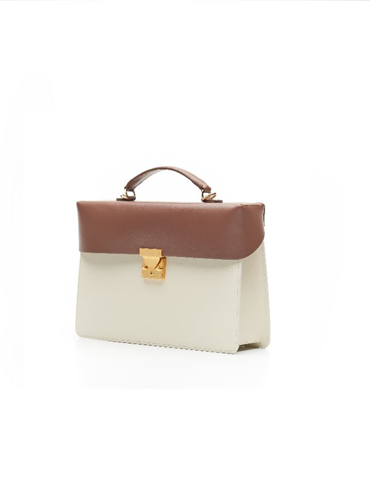 Box Bag- Ivory / Brown(1 left)
